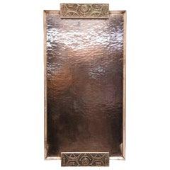 Handmade Mid-Century Modern Embossed Copper Tray, 1970's