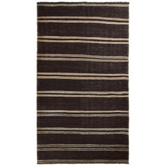 Handmade Midcentury Vintage Kilim in Beige Brown Striped Pattern