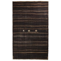 Handmade Midcentury Vintage Kilim Rug in Brown Striped Pattern