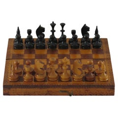 Handmade Miniature Travelling Chess Set Game in Pokerwork Box, Circa 1900