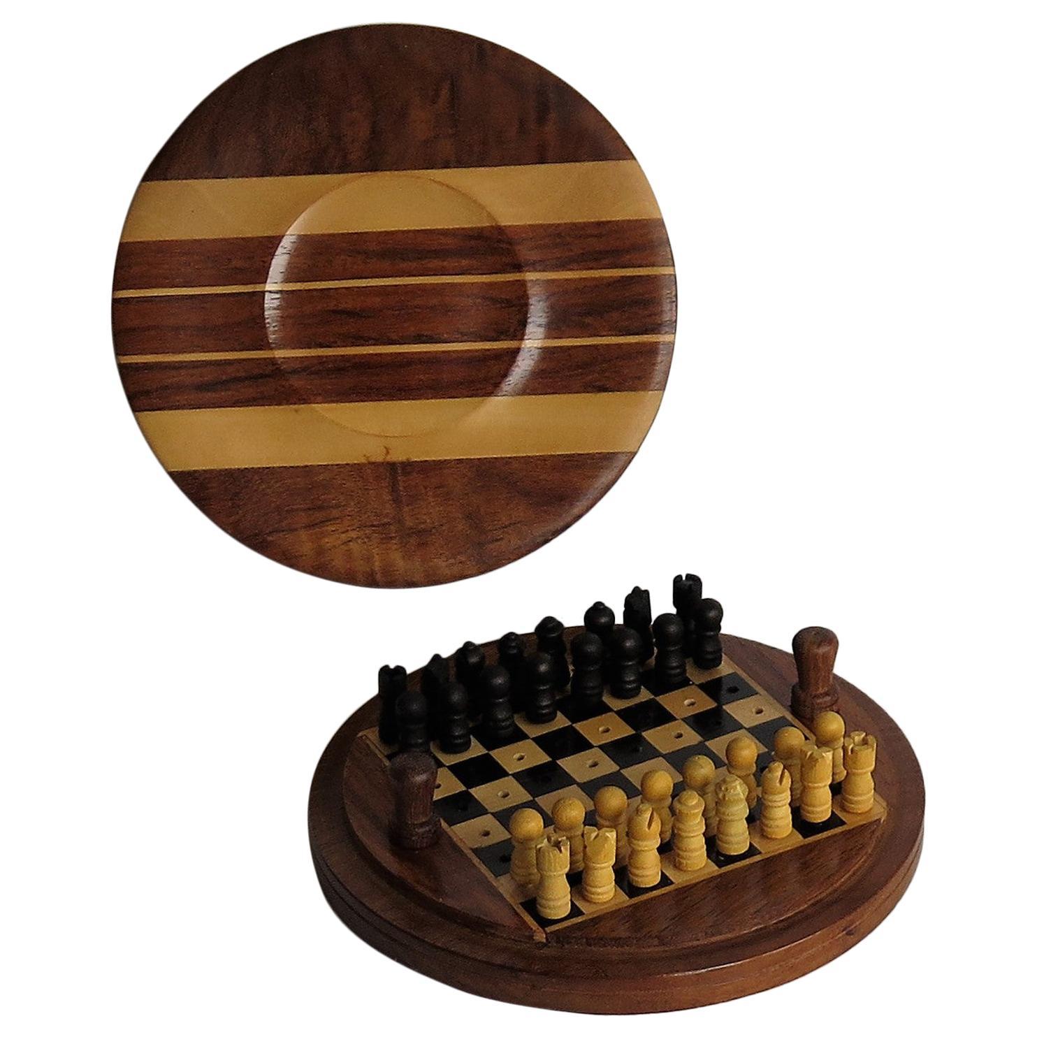Handmade Miniature Travelling Chess Set Game Inlaid Walnut Box, circa 1920
