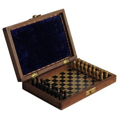 Handmade Miniature Travelling Chess Set Game Mahogany Inlaid box, circa 1920