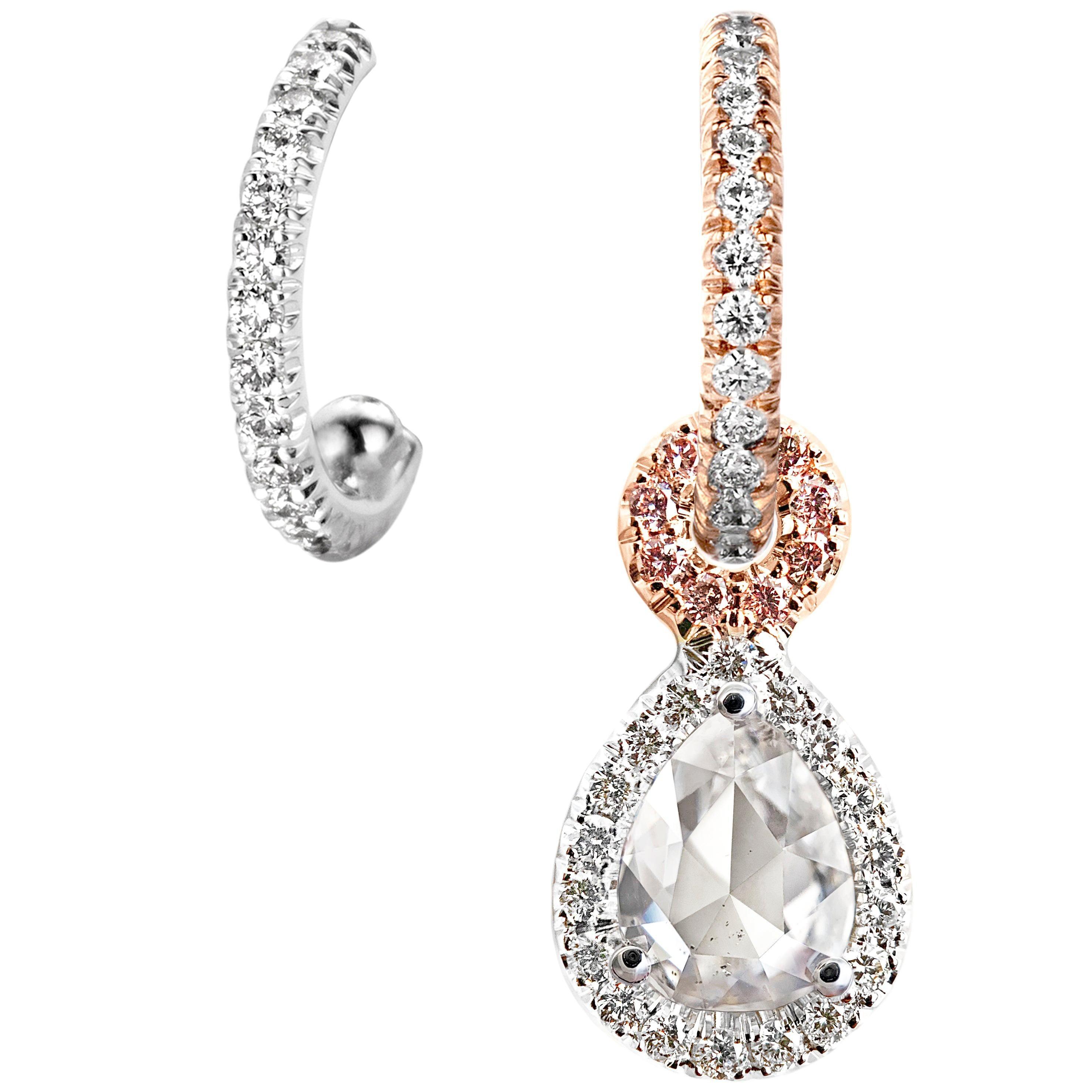 Handmade Mismatched 0.90ct Rose-Cut Diamond Pink White Diamond Charm Earrings