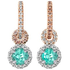 Handmade Mismatched Paraiba Tourmaline Pink White Diamond Charm Earrings