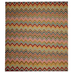 Handmade Modern Kilim Rugs, Afghan Kilim Rugs, Flat-Weave Rug Zigzag Carpet