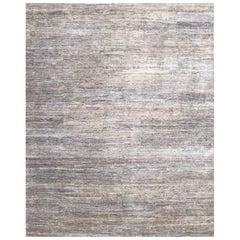 Handmade Modern Rug Beige, Gray and Blue Plain by Rug & Kilim