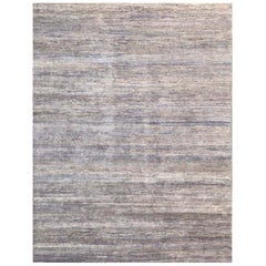 Handmade Modern Rug Beige, Gray and Purple Plain by Rug & Kilim