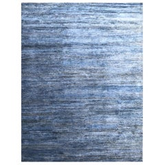 Handmade Modern Rug Blue and Gray Plain by Rug & Kilim