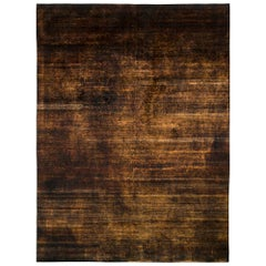 Handmade Modern Rug Brown and Black Striped Pattern by Rug & Kilim
