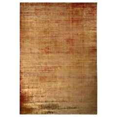 Handmade Modern Rug Gold and Red Abrashed Striped Pattern by Rug & Kilim