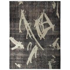 Handmade Modern Rug Gray Black Geometric Paint Strokes Pattern by Rug & Kilim