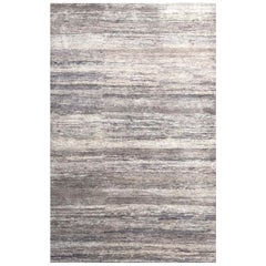 Handmade Modern Rug Gray, Silver and Black Plain by Rug & Kilim
