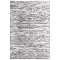 Handmade Modern Rug Gray, Silver and Black Plain Mix by Rug & Kilim