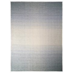 Handmade Modern Rug in Silver-Gray and Blue Gradient Pattern by Rug & Kilim
