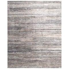 Handmade Modern Rug Silver, Gray and Beige Plain by Rug & Kilim