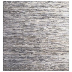Handmade Modern Rug Silver, Gray and Blue Plain Mix by Rug & Kilim