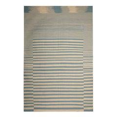 Handmade Modern Striped Kilim Rugs, Persian Style Rugs, Blue-Beige Zebra Kilims