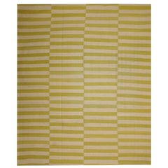 Handmade Modern Striped Kilim Rugs, Persian Style Rugs, Gold-Beige Zebra Kilims