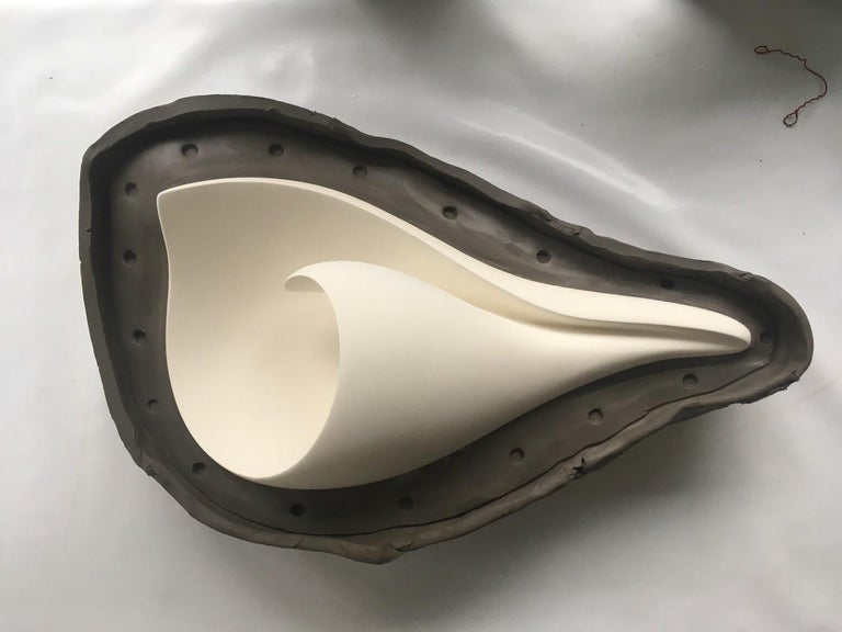 Handmade Monumental Shell Wall-Mounted Sculpture White Plaster, Hannah Woodhouse For Sale 1