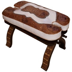 Handmade Moroccan Camel Seat, Tan / White Cushion