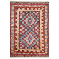 Handmade Carpet Moroccan Rugs, Shag Rugs, Pink and Red Primitive Carpet for Sale