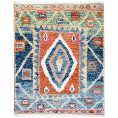 Handmade Moroccan Rugs, Shag Rugs, Red and Blue Primitive Carpet for Sale