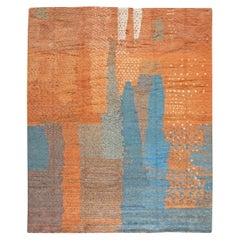 Handmade Moroccan Shaggy Wool Rug with Tribal Design in Shades of Blue & Orange