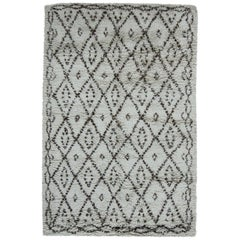 Handmade Moroccan Wool Rug with Geometric Tribal Design