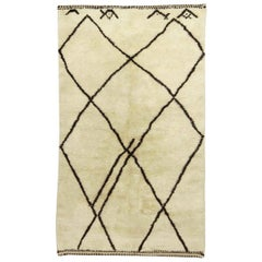 Handmade Moroccan Wool Rug with Tribal Design in Black and White