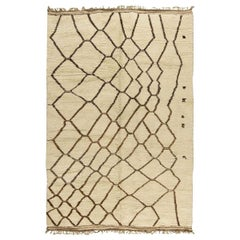 Handmade Moroccan Wool Rug with Tribal Design in White and Brown