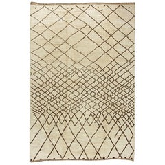 Handmade Moroccan Wool Rug with Tribal Diamond Design