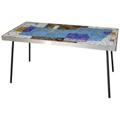 Handmade Mosaic Table by Helmut Lander with Blue and Gold Tones, Germany, 1953