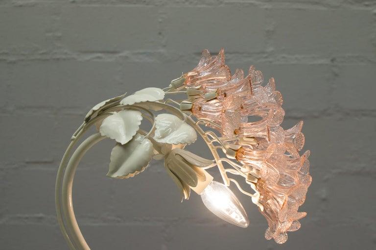 Handmade Murano Flower Blossoms Table Lamp, 1960s For Sale 4
