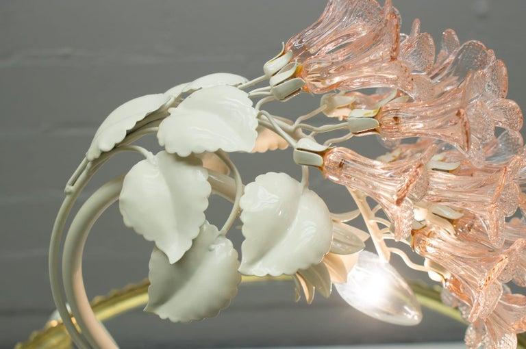 Handmade Murano Flower Blossoms Table Lamp, 1960s For Sale 5