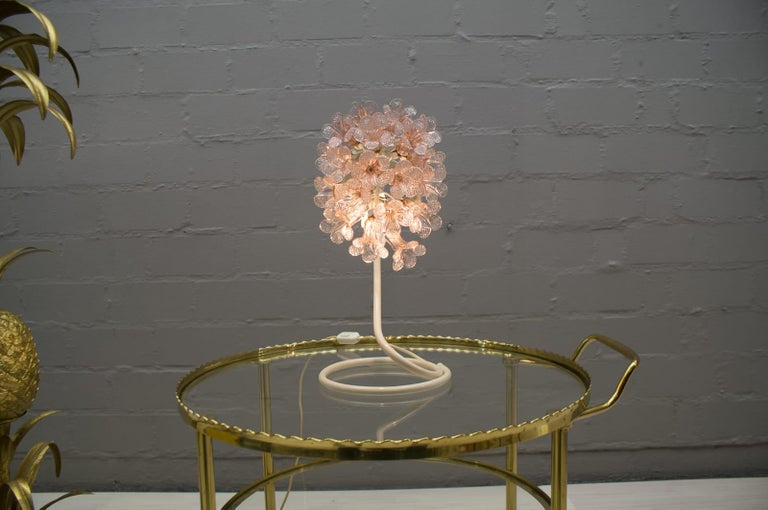 Handmade Murano Flower Blossoms Table Lamp, 1960s For Sale 7