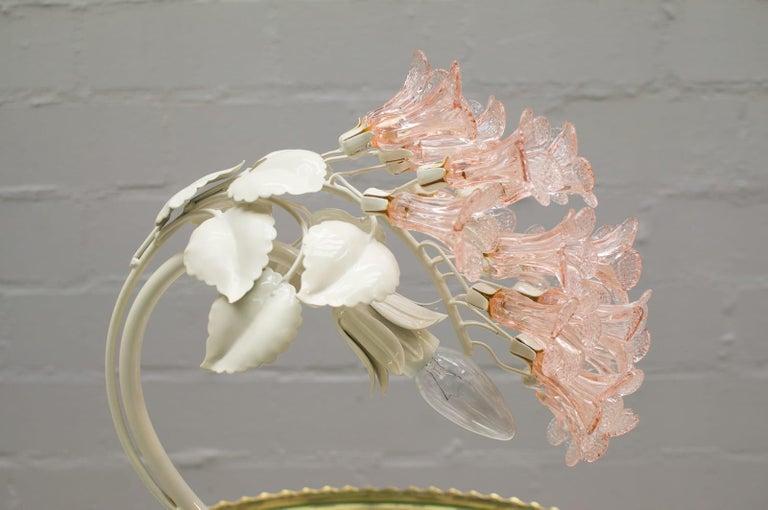 Handmade Murano Flower Blossoms Table Lamp, 1960s For Sale 8