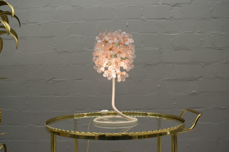 A very rare, decorative Murano glass table lamp from Italy, 1960s.   Pink, filigree Murano glass flowers.   One e14 lamp socket.