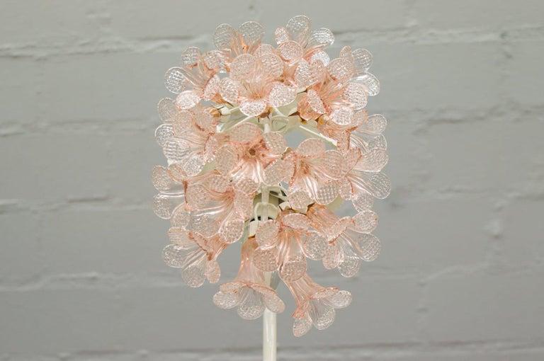 Hollywood Regency Handmade Murano Flower Blossoms Table Lamp, 1960s For Sale