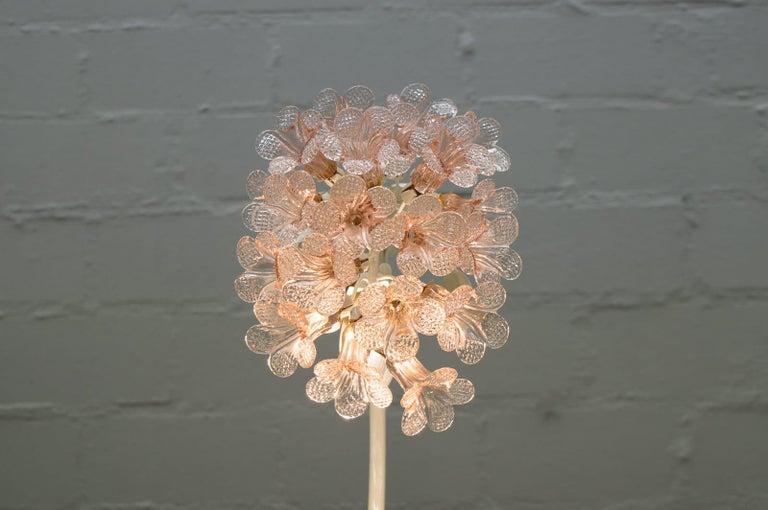 Italian Handmade Murano Flower Blossoms Table Lamp, 1960s For Sale