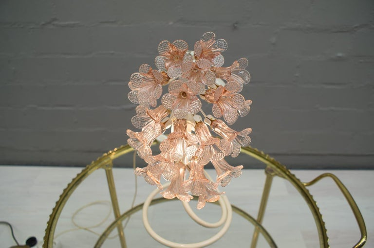 Lacquered Handmade Murano Flower Blossoms Table Lamp, 1960s For Sale