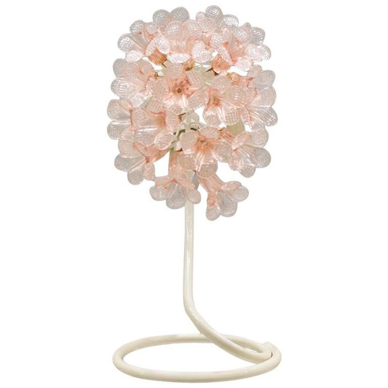 Handmade Murano Flower Blossoms Table Lamp, 1960s For Sale