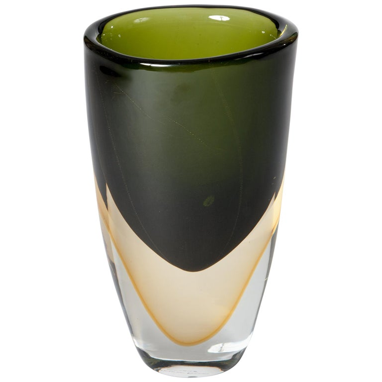 Handmade Murano Glass Sommerso Vase in Darkgreen, Yellow Signed by Romano Donà For Sale