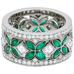 Handmade Natural Colombian Emerald Diamond Eternity Set of 3 Rings Platinum