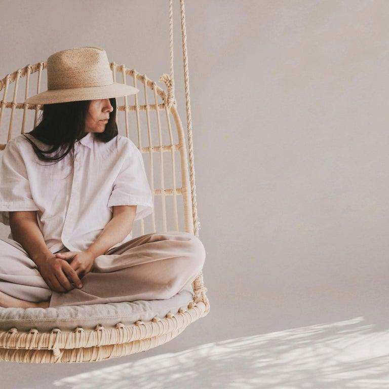 Contemporary Handmade Natural Rattan Cala Hanging Chair