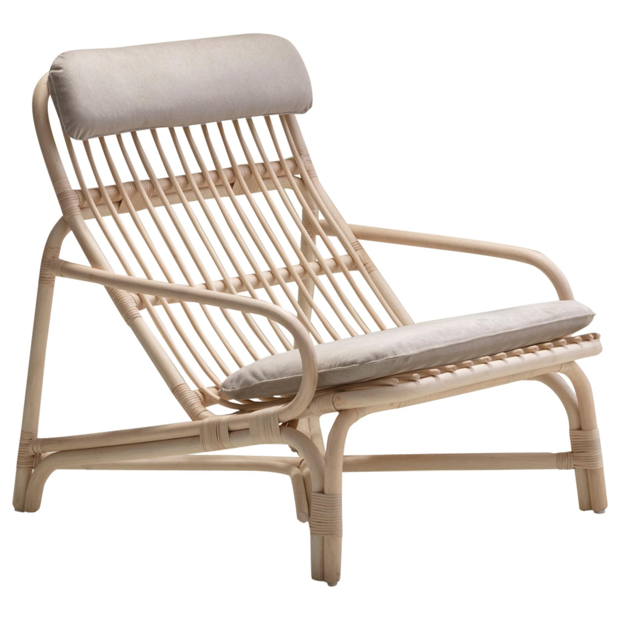 Handmade Natural Rattan Camelia Lounge Chair 'Cushioned'