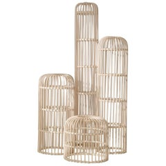 Handmade Natural Rattan Los Guajes Sculptural Totems 'Set of 4'
