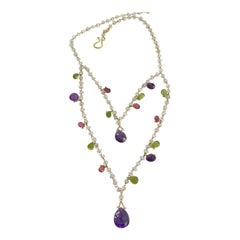 Handmade Necklace, Made of Amethysts, Peridots, Rubelite and Moonstones, Gold