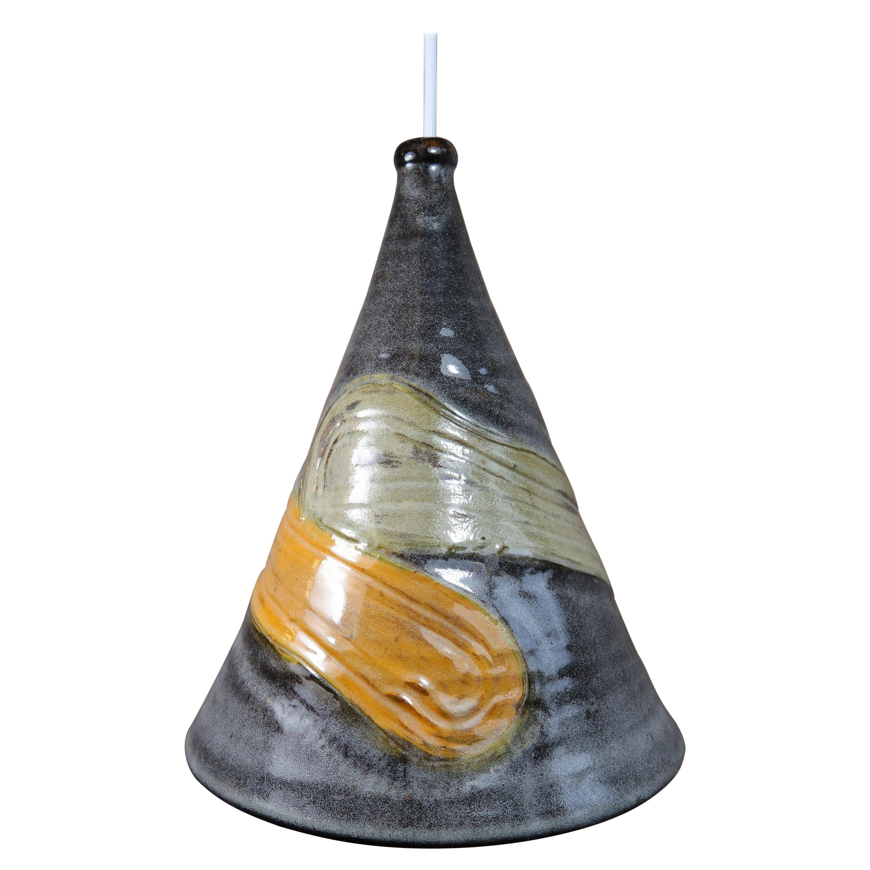 Handmade Danish Modern Glazed Ceramic Grey, Ochre Pendant, 1960s