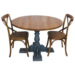 Handmade Oak Cafe Table, 20th Century