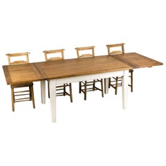 Handmade Oak Extending Farmhouse Table, 20th Century